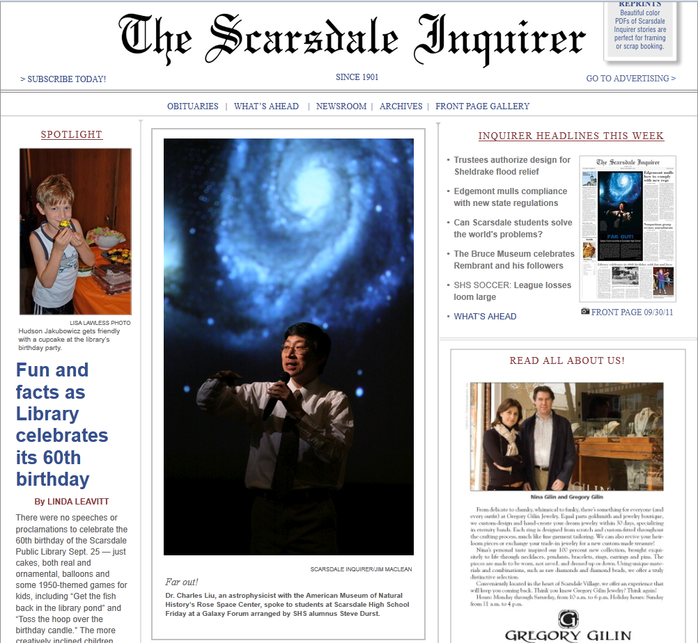 GF NY Scarsdale Inqui Front Page